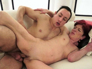 Redhead granny gets warm jizz in her mouth