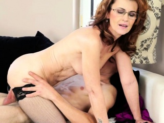 Stockings granny sucking