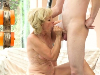 Old grandma creampied