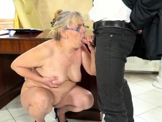 Spex grandma mouth jizzed