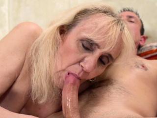 Blonde granny fingered