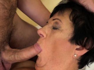 Fucked granny gets cum
