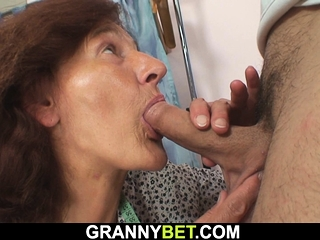 Young guy fucks sewing 60 years old woman