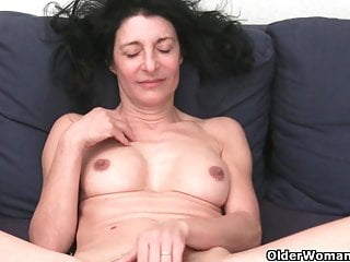 French granny with hairy pussy and round butt masturbates