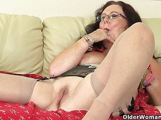 British granny Zadi fucks herself with a dildo
