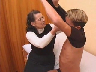 Granny in stockings fucked