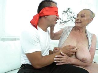Horny granny with big tits enjoys big cock