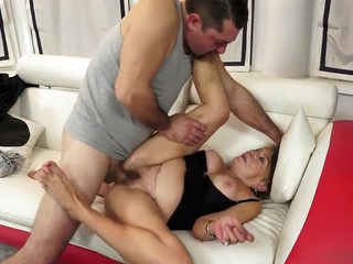 Delicious cocktail and young dick in Grandma Malia's pussy