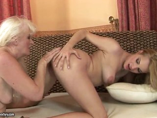 Teen Laraan and granny Mylen get nasty