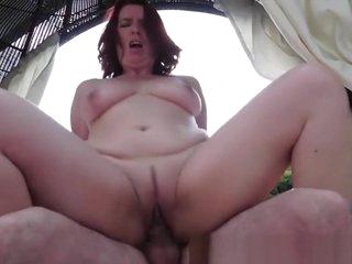 Chubby redhead granny fucked outdoors