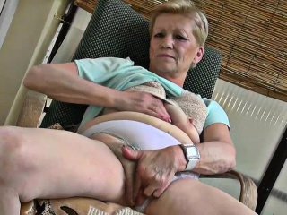 Hairy Blonde Granny Shares A Dildo