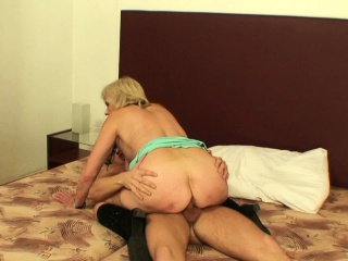 Old grandma sucks and rides his big dick