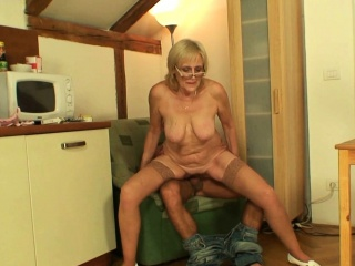 Very old skinny blonde mother rides son-in-law cock