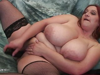 Mature mom with VERY BIG TITS and her rubber cock
