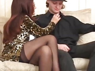 Granny introduces her friend in stocking a young boy to fuck