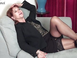 American mature MOM strips first and plays with her toy
