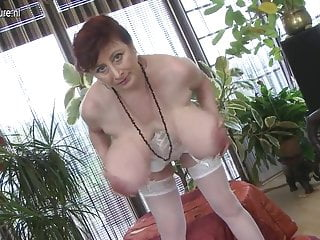 Hot huge breasted mother playing with her pussy