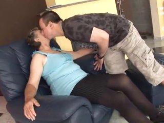 Silver haired grandmama seduces boy