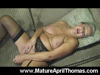 Mature April Fucks A dildo