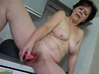 OldNanny granny mature masturbate with orange dildo