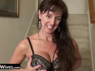 USAWives Horny wife in hot black corset masturbates on the stairs