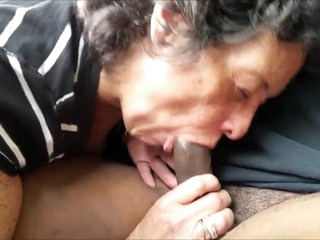 Amateur Grandma Sucks Off a Black Stranger