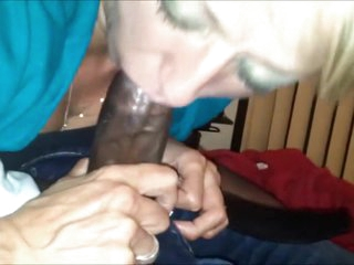 Horny Amateur Granny Interracial Blowjob