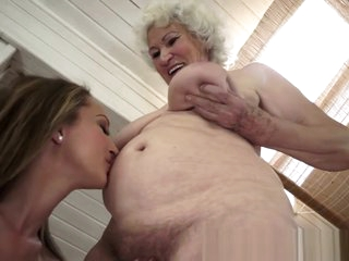 Outrageous Granny Licked by Horny Lesbian Teen