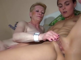 Hairy Granny Joins Couple In Three-way