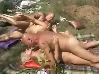 Grannies piss outdoor