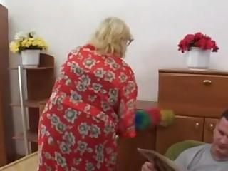 Chunky Blond Granny Bonks Younger Man