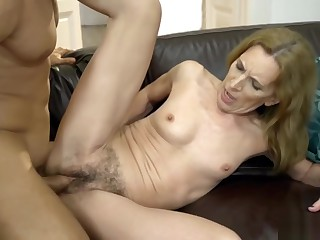 Skinny old bitch fucked in her hairy twat