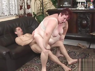 Fat granny rides on a big rod