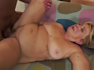 Chubby Grandma Gets Hairy Pussy Pounded