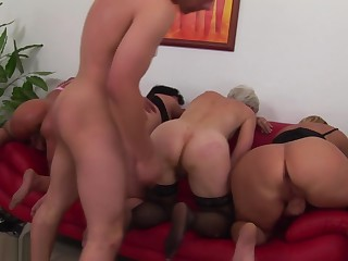 Granny group line up for a fuck