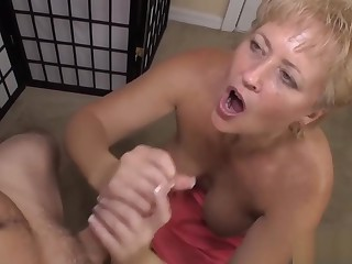 Blonde Granny Gives Perfect Handjob for Cumshot