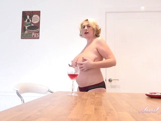 Elderly blonde woman with big, saggy tits, Camilla couldn't hold back from playing with her pussy