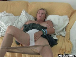 Big boobed granny needs to get off in pantyhose