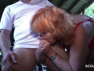 German Granny Blows Long Hard Dick Outdoor